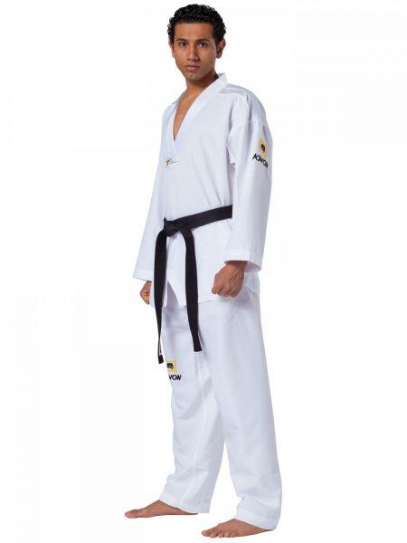 Weißer TKD Anzug Fightlite mit weißem Revers 1