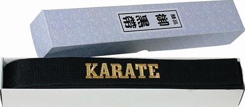karate schwarzgurt meistergürtel glänzend mit schriftzug von hayashi