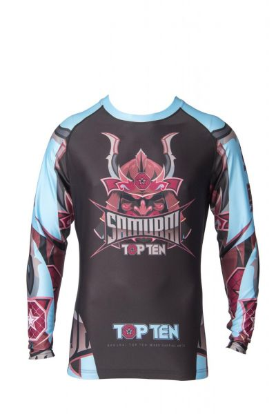 MMA Rash Guard Samurai langarm von Top Ten in Schwarz-Blau Frontansicht 1