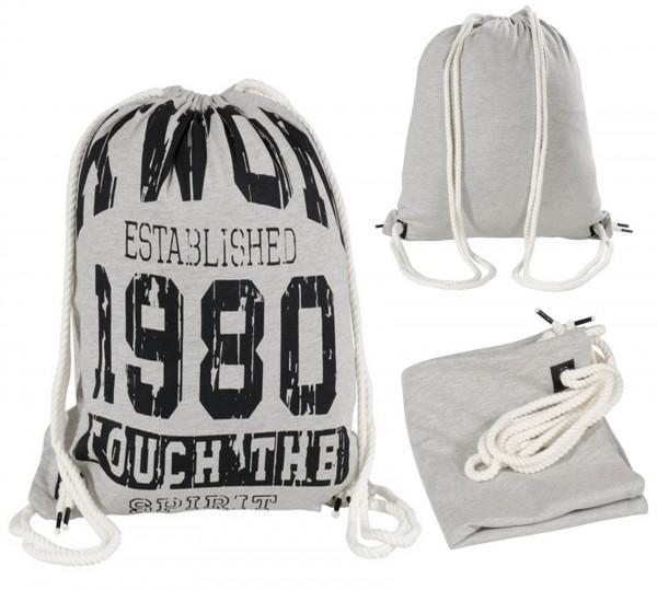 Rucksack grau aus Baumwolle mit Aufdruck 1980