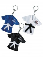 Mini-Kampfsportjacken als Schlüsselanhänger von Danrho in Blau Schwarz und Weiß