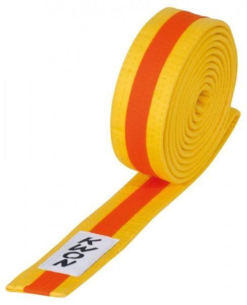 Dreifarbiger Taekwondo Judo Karate Gürtel - Gelb - Orange - Gelb - versch. Längen