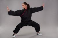 Phoenix Kung Fu Jacke mit roten Applikationen 100% Baumwolle