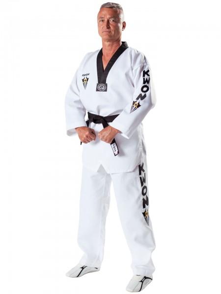 Weißer Taekwondo-Anzug Starfighter mit schwarzem Revers von KWON