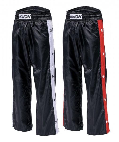 Schwarz-weiße und schwarz-rote KWON Satinhose Kickboxhose STAR