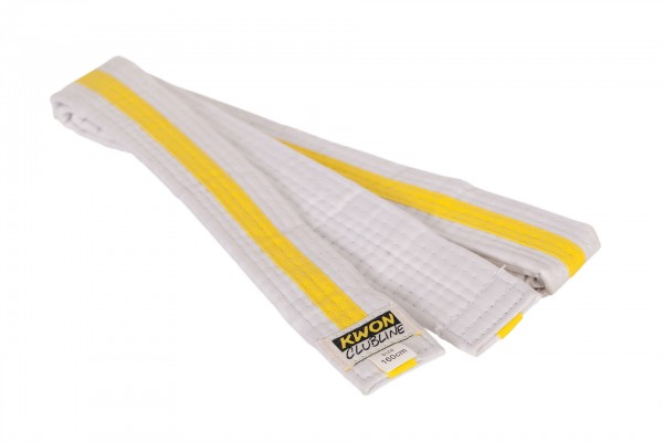 Mehrfarbiger Softgürtel von KWON CLUBLINE in weiß-gelb-weiß 1