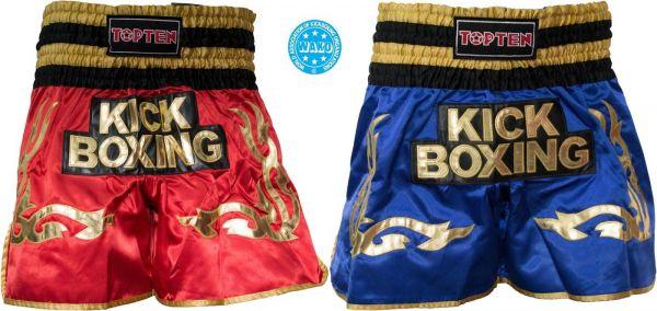 Kickboxing Shorts im Thai-Stil WAKO von Top Ten in Rot und Blau