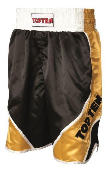 Boxing Shorts Shiny von Top Ten in Schwarz-Gold Frontansicht