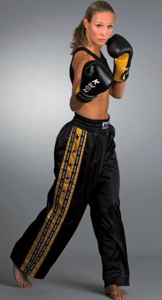 Schwarz-gelbe KWON Satinhose Kickboxhose Profi-Design 2