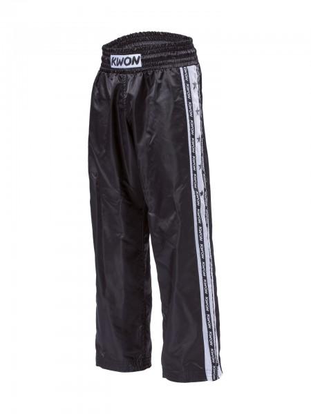 Schwarz-weiße KWON Satinhose Kickboxhose Profi-Design