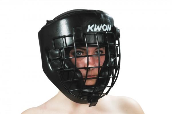 Schwarzer KWON Kopfschutz mit Eisengitter 1