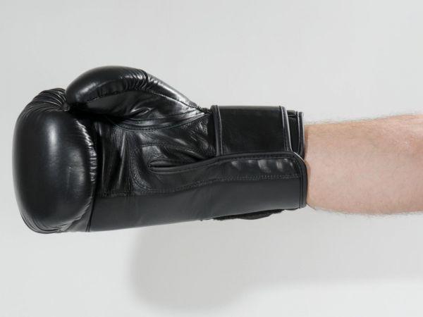 KWON 10 oz Boxhandschuh Ergo Champ mit WAKO-Zulassung Schwarz