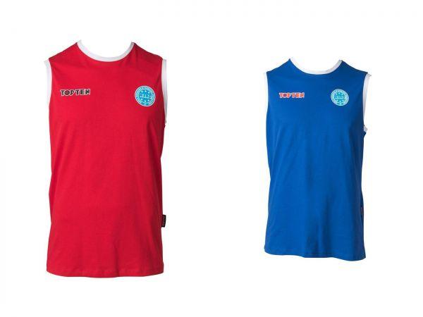 Ärmelloses Kickboxing Shirt WAKO von Top Ten mit Rundhalsausschnitt in Blau und Rot Frontansicht