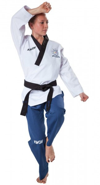 KWON Poomsae Taekwondo Anzug für Damen mit schwarzen Revers Grand - mit WT-Zulassung