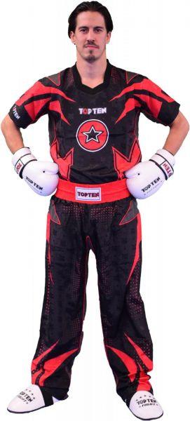 Kickboxanzug Future von Top Ten in Schwarz-Rot Frontansicht
