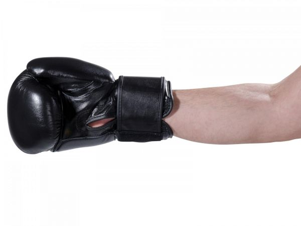 KWON 10 oz Boxhandschuh Pointer in schwarzes Leder