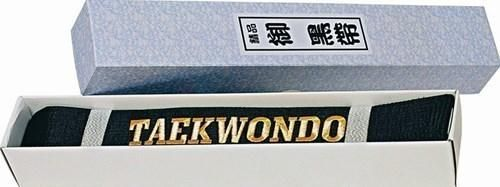 taekwondo schwarzgurt meistergürtel glänzend mit schriftzug von hayashi