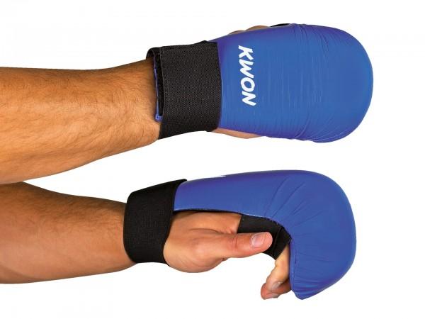 Blaue KWON Karate Handschützer ohne Daumenschlaufe
