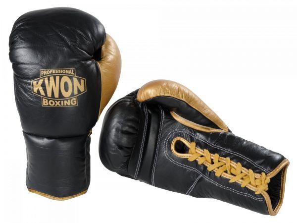 Boxhandschuhe Leder mit Schnürung von KWON in Schwarz-Gold 1