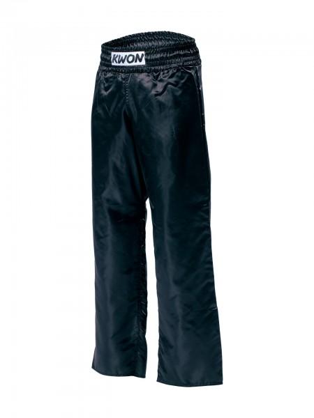 Schwarze KWON Satinhose Kickboxhose