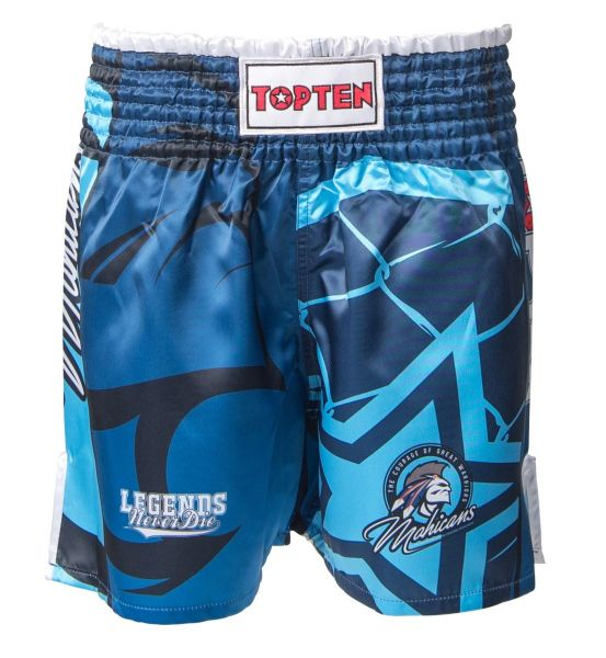 Kickboxing Shorts im Thai-Stil Mohicans von Top Ten in Blau Frontansicht
