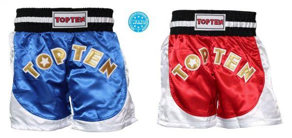 Kickboxing Shorts Kick Light von Top Ten in Blau und Rot Frontansicht